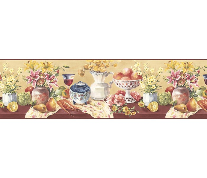 Clearance: Fruits and Flowers Wallpaper Border KB73452