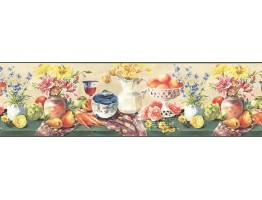 Prepasted Wallpaper Borders - Fruits and Flowers Wall Paper Border KB73453