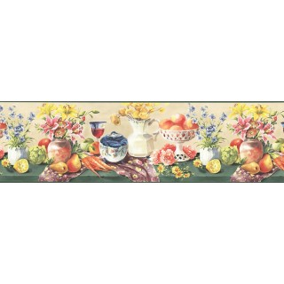 9 in x 15 ft Prepasted Wallpaper Borders - Fruits and Flowers Wall Paper Border KB73453