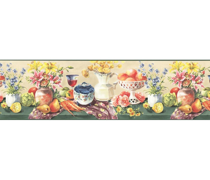 Clearance: Fruits and Flowers Wallpaper Border KB73453