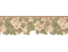 8 3/4 in x 15 ft Prepasted Wallpaper Borders - Floral Wall Paper Border B73658