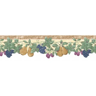 6 1/2 in x 15 ft Prepasted Wallpaper Borders - Fruits Wall Paper Border B74239
