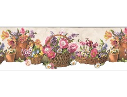 Prepasted Wallpaper Borders - Floral Wall Paper Border B74240
