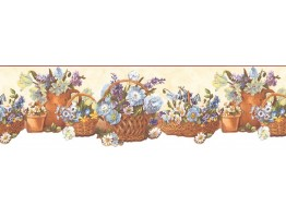 Prepasted Wallpaper Borders - Floral Wall Paper Border B74242