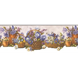 9 in x 15 ft Prepasted Wallpaper Borders - Floral Wall Paper Border OH74243DC