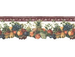 9 1/2 in x 15 ft Prepasted Wallpaper Borders - Fruits Wall Paper Border B74256