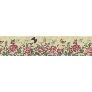 6 3/4 in x 15 ft Prepasted Wallpaper Borders - Roses Wall Paper Border B74356