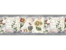 10 1/2 in x 15 ft Prepasted Wallpaper Borders - Floral Wall Paper Border B74360