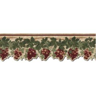 4 1/4 in x 15 ft Prepasted Wallpaper Borders - Grape Fruits Wall Paper Border B74460