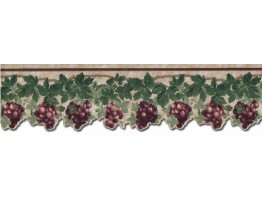 4 1/4 in x 15 ft Prepasted Wallpaper Borders - Grape Fruits Wall Paper Border B74462