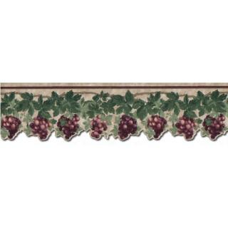 4 1/4 in x 15 ft Prepasted Wallpaper Borders - Grape Fruits Wall Paper Border B74462