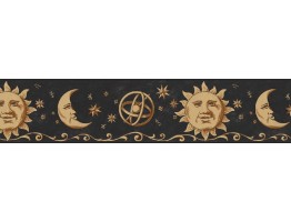 Prepasted Wallpaper Borders - Sun, Moon and Stars Wall Paper Border B75055