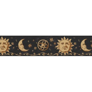 7 in x 15 ft Prepasted Wallpaper Borders - Sun, Moon and Stars Wall Paper Border B75055