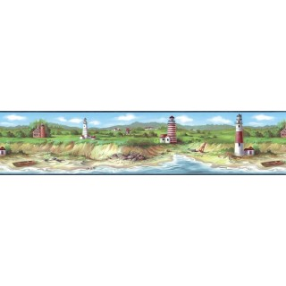 7 in x 15 ft Prepasted Wallpaper Borders - Light House Wall Paper Border KB75506