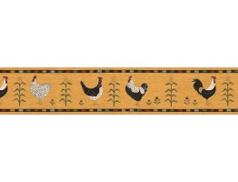 Prepasted Wallpaper Borders - Roosters Wall Paper Border B75689