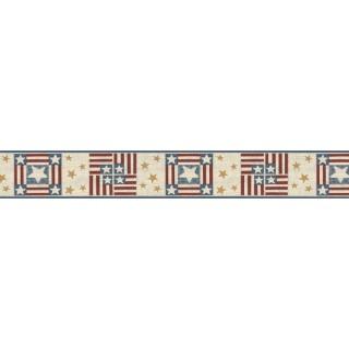 5 1/4 in x 15 ft Prepasted Wallpaper Borders - Stars Wall Paper Border B75696