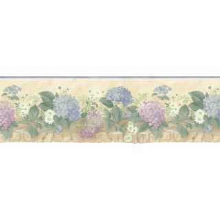 9 5/8 in x 15 ft Prepasted Wallpaper Borders - Floral Wall Paper Border b75702