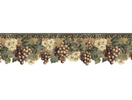Prepasted Wallpaper Borders - Fruits and Flowers Wall Paper Border b75736