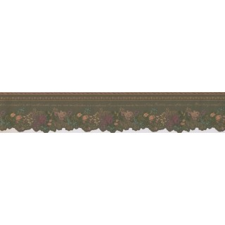 4 1/4 in x 15 ft Prepasted Wallpaper Borders - Floral Wall Paper Border Des86966DC
