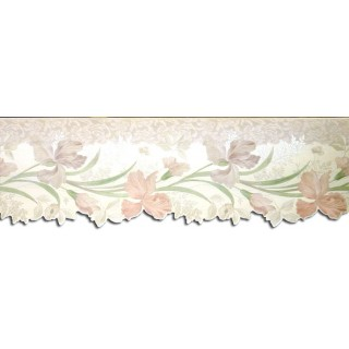 6 3/4 in x 15 ft Prepasted Wallpaper Borders - Floral Wall Paper Border 87940DC