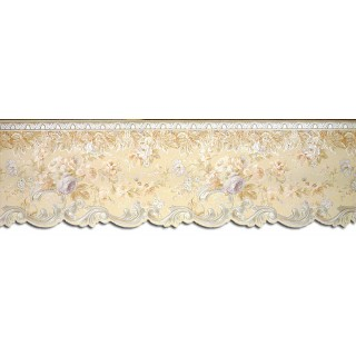 6 3/4 in x 15 ft Prepasted Wallpaper Borders - Floral Wall Paper Border 87955DC