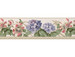 Prepasted Wallpaper Borders - Floral Wall Paper Border 4626 BA