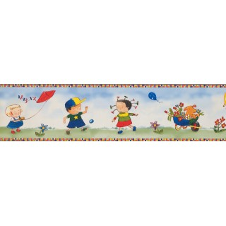 6 in x 15 ft Prepasted Wallpaper Borders - Kids Wall Paper Border 4012 BB A
