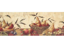 9 in x 15 ft Prepasted Wallpaper Borders - Fruits Wall Paper Border 10121 BE