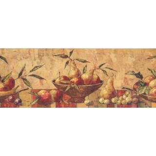 9 in x 15 ft Prepasted Wallpaper Borders - Fruits Wall Paper Border 10122 BE