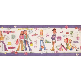 9 in x 15 ft Prepasted Wallpaper Borders - Girls Wall Paper Border 11192 BE