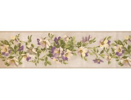 6 3/4 in x 15 ft Prepasted Wallpaper Borders - Floral Wall Paper Border BH10-089-001-16