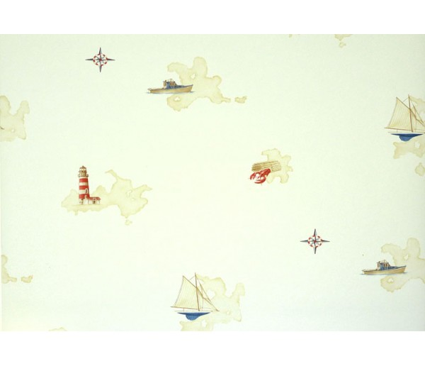 Nautical Wallpaper: Light and Ships Wallpaper BH89061