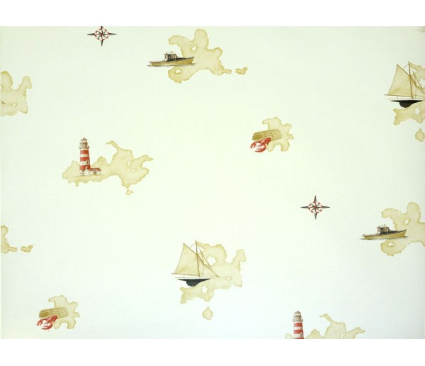 Nautical Wallpaper: Light and Ships Wallpaper BH89062