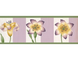 Prepasted Wallpaper Borders - Floral Wall Paper Border 2061 BN