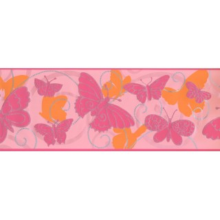 9 in x 15 ft Prepasted Wallpaper Borders - Butterfly Wall Paper Border 5406 BS