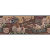 Roosters Wallpaper Borders: Rooster Wallpaper Border 7021 BSB