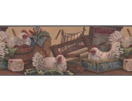 Prepasted Wallpaper Borders - Rooster Wall Paper Border 7021 BSB