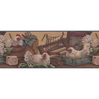 9 in x 15 ft Prepasted Wallpaper Borders - Rooster Wall Paper Border 7021 BSB
