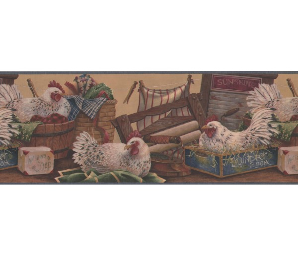 Laundry Borders Rooster Wallpaper Border 7021 BSB York Wallcoverings