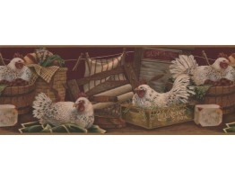 Prepasted Wallpaper Borders - Rooster Wall Paper Border 7023 BSB