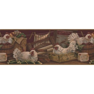 9 in x 15 ft Prepasted Wallpaper Borders - Rooster Wall Paper Border 7023 BSB