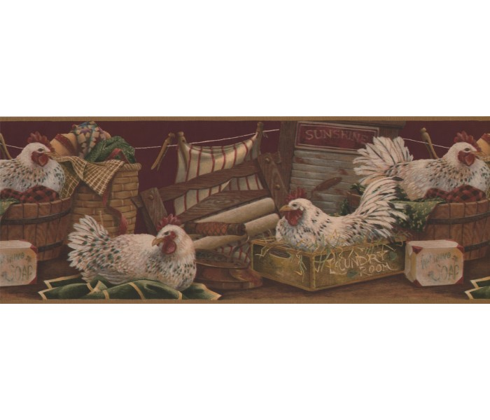 Roosters Wallpaper Borders: Rooster Wallpaper Border 7023 BSB