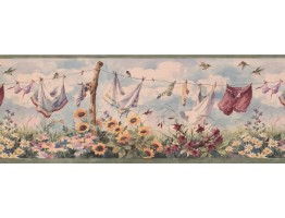 Prepasted Wallpaper Borders - Laundry Wall Paper Border 7031 BSB
