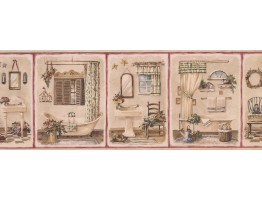 Prepasted Wallpaper Borders - Bathroom Wall Paper Border 7111 BSB