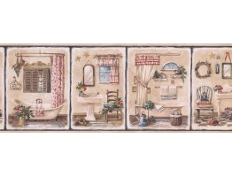 Prepasted Wallpaper Borders - Bathroom Wall Paper Border 7112 BSB