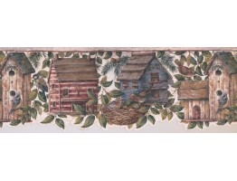 Prepasted Wallpaper Borders - Birds House Wall Paper Border 7141 BSB