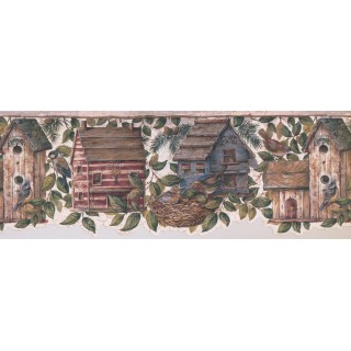 8 1/2 in x 15 ft Prepasted Wallpaper Borders - Birds House Wall Paper Border 7141 BSB
