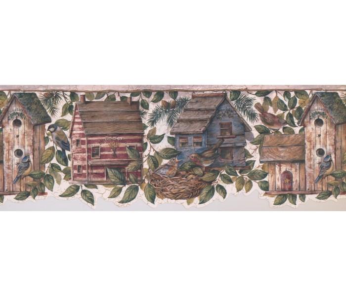 Bird Houses Wallpaper Borders: Birds House Wallpaper Border 7141 BSB