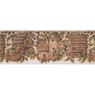 9 in x 15 ft Prepasted Wallpaper Borders - Birds House Wall Paper Border 7142 BSB
