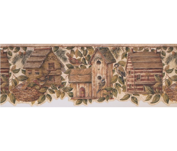 Bird Houses Wallpaper Borders: Birds House Wallpaper Border 7142 BSB